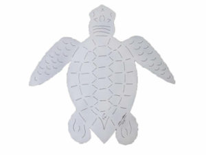 Handcrafted White Loggerhead Sea Turtle Sculpture by artist Chase Allen